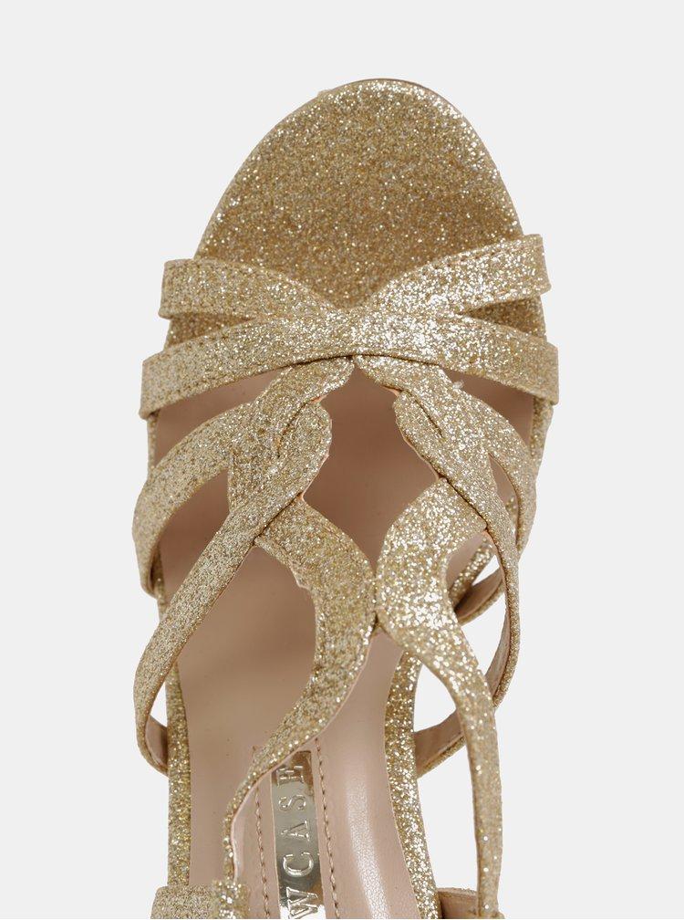 Trblietavé sandálky v zlatej farbe Dorothy Perkins