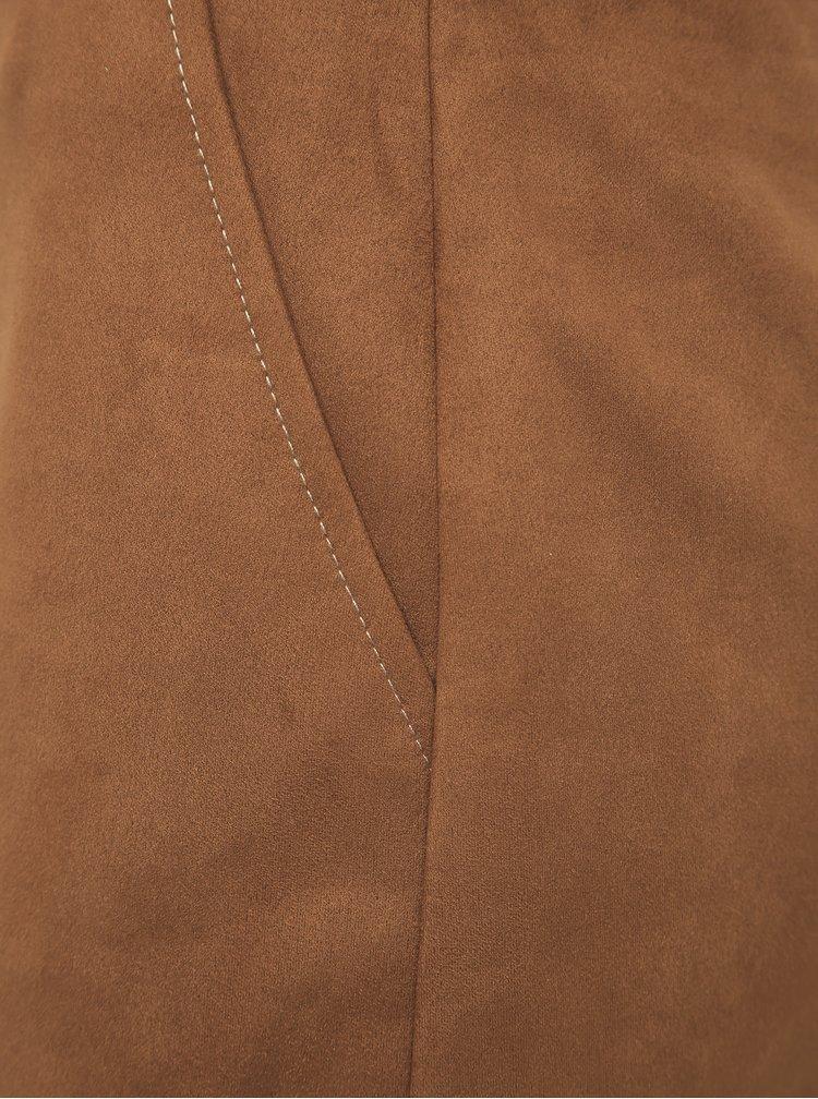 Hnědá pouzdrová sukně v semišové úpravě Dorothy Perkins