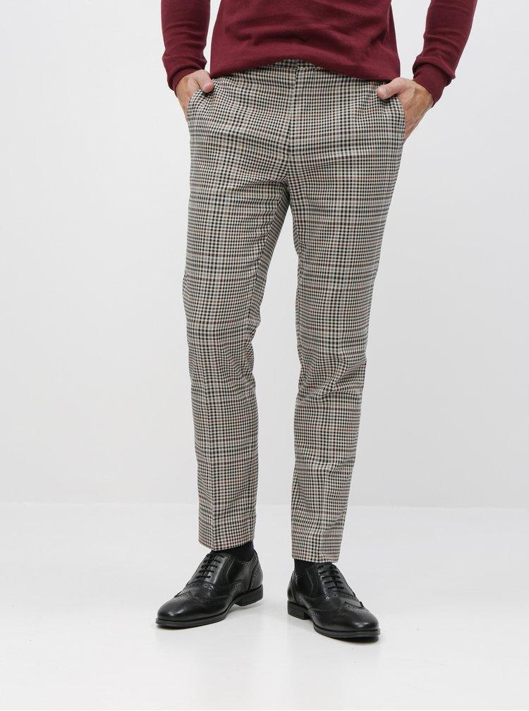 Béžové kostkované oblekové skinny fit kalhoty Burton Menswear London