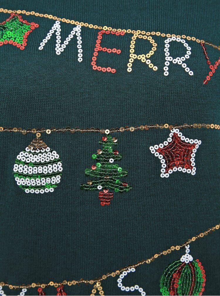 Tmavě zelený svetr s vánočním motivem VERO MODA Merry