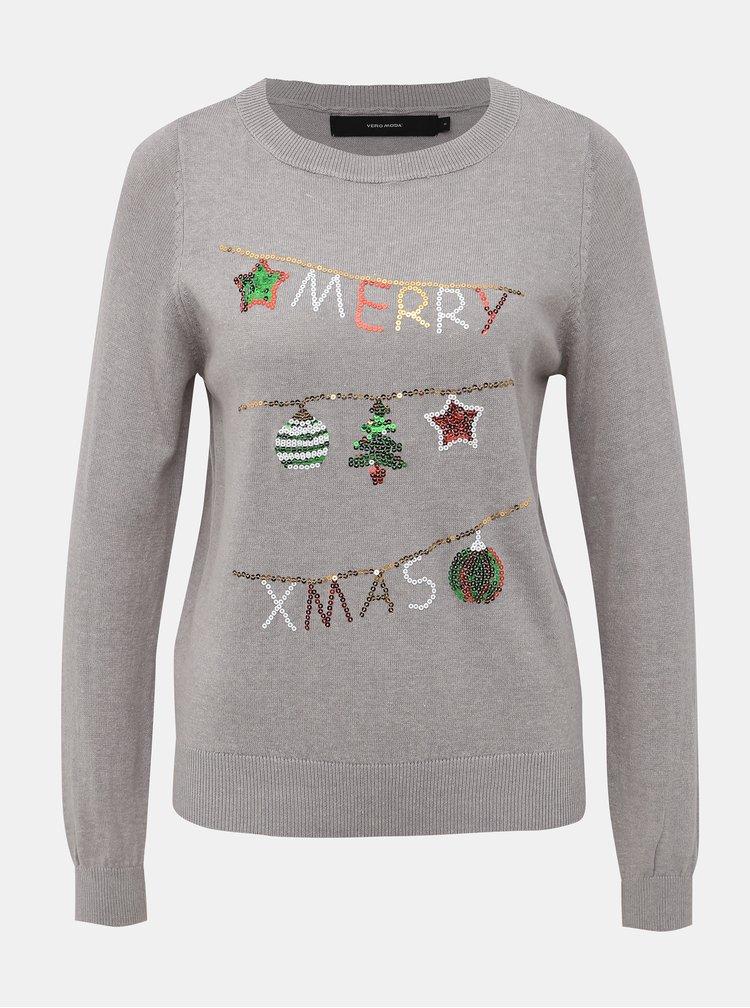 Šedý svetr s vánočním motivem VERO MODA Merry