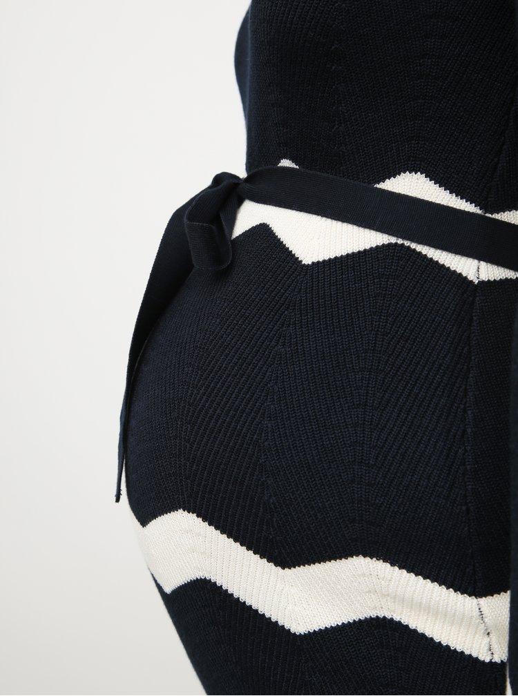 Tmavě modré těhotenské svetrové pruhované šaty Mama.licious Doria