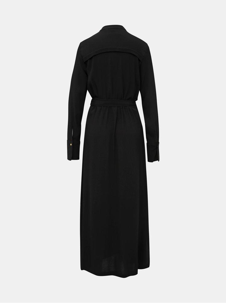 Čierne košeľové maxi šaty Selected Femme Hadley