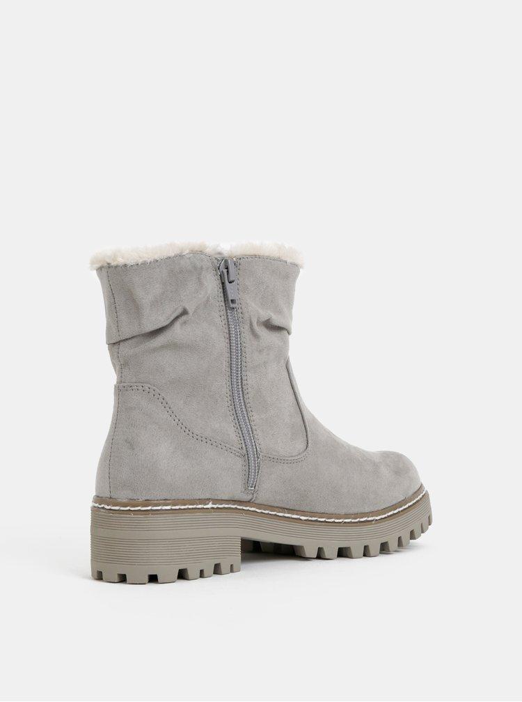 Šedé dámské zimní kotníkové boty v semišové úpravě s.Oliver