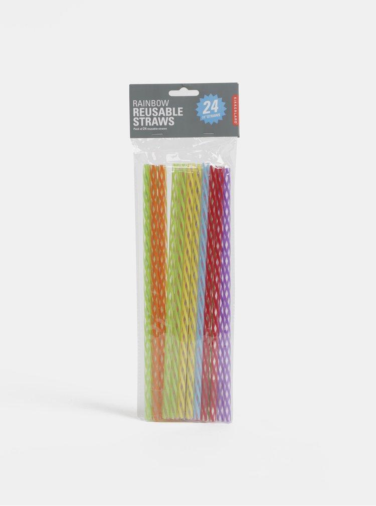 Sada farebných znovu použiteľných slamiek Kikkerland