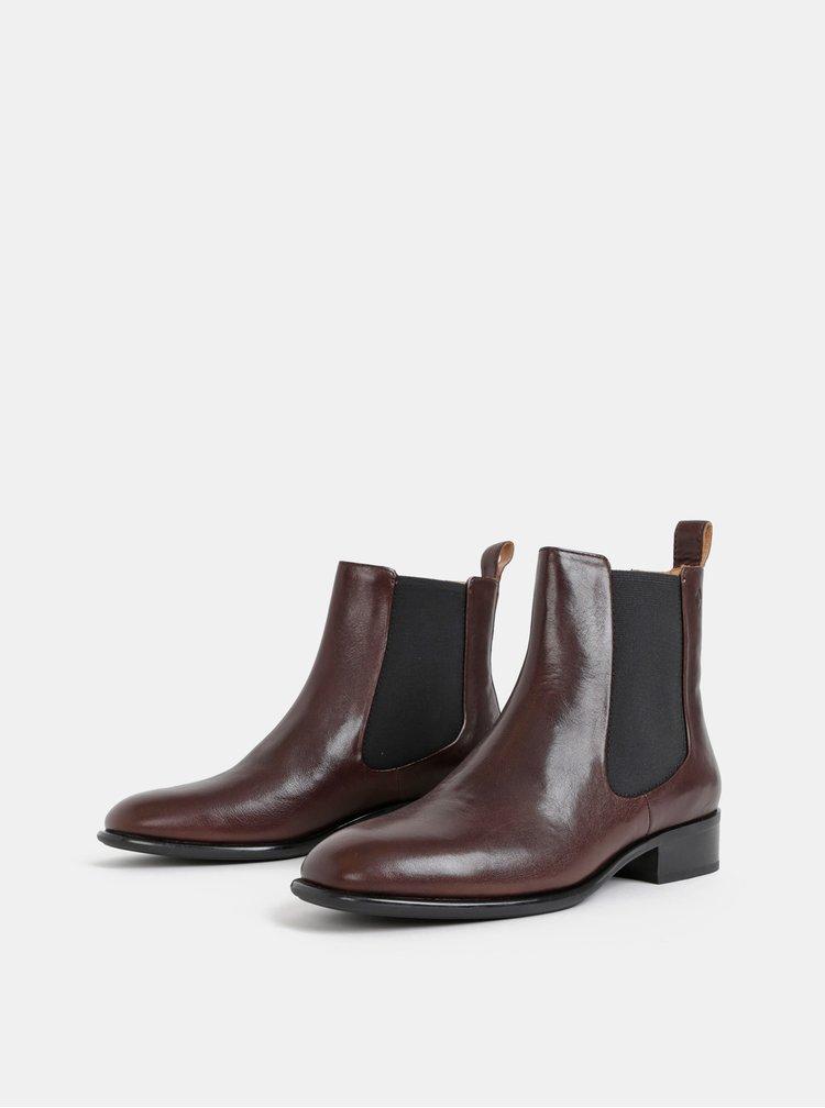 Tmavě hnědé dámské kožené chelsea boty Vagabond Java