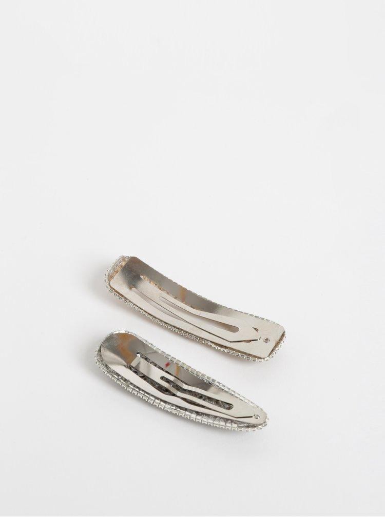 Sada dvou sponek ve stříbrné barvě s kamínky Pieces Oana