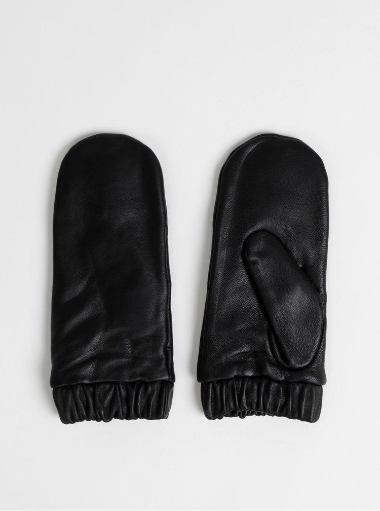 Černé kožené palčáky ONLY Dana