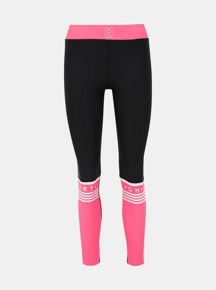 Růžovo-černé sportovní legíny Gym Hero