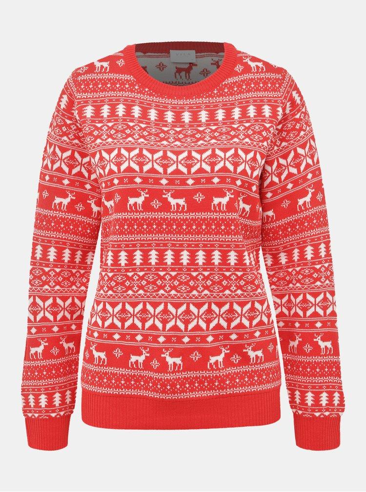 Červený sveter s vianočným motívom VILA Kosi