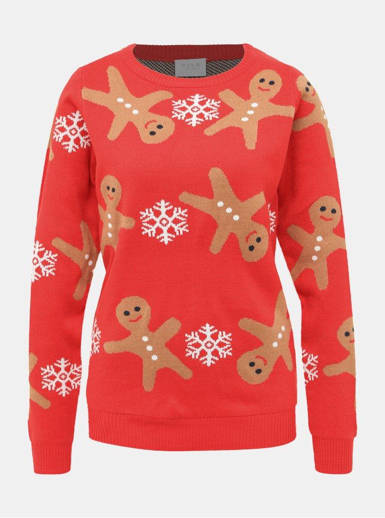 Červený sveter s vianočným motívom VILA Cake