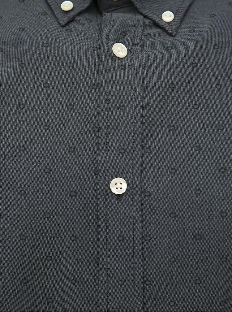 Tmavošedá bodkovaná slim fit košeľa Jack & Jones Panama