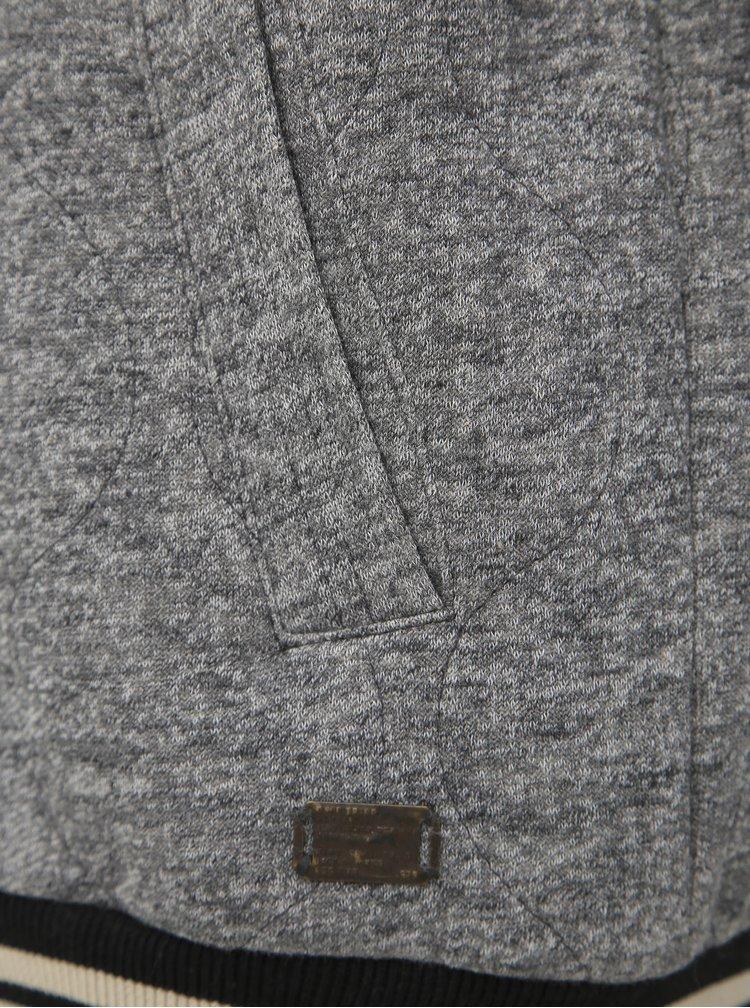 Šedý zimní mikinový bomber Jack & Jones Quilt