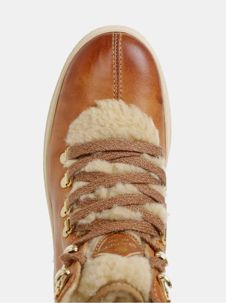 Hnedé dámske kožené kotníkové zimné topánky s vlnenou podšívkou GANT Maria