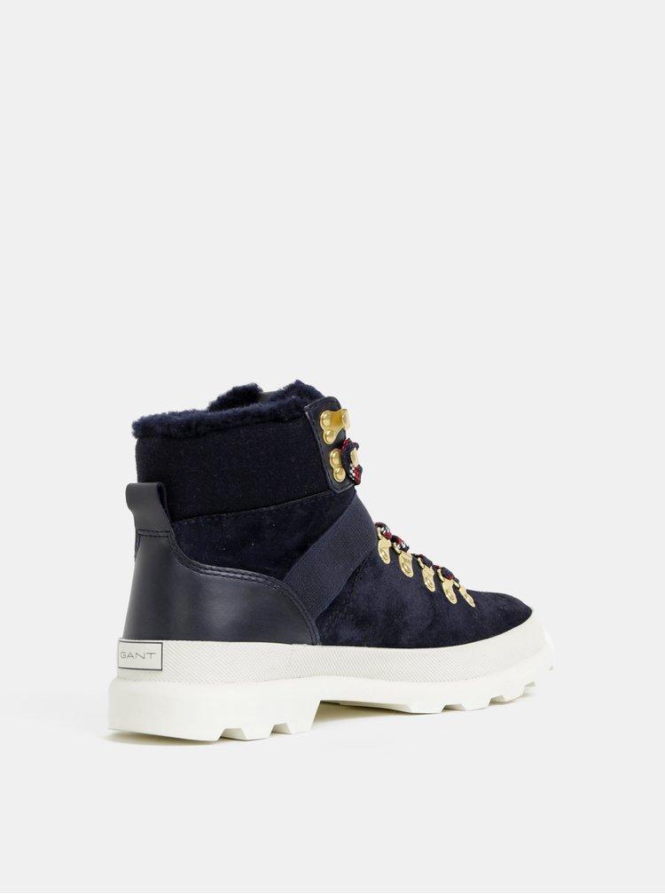 Tmavě modré dámské semišové kotníkové zimní boty GANT Westport