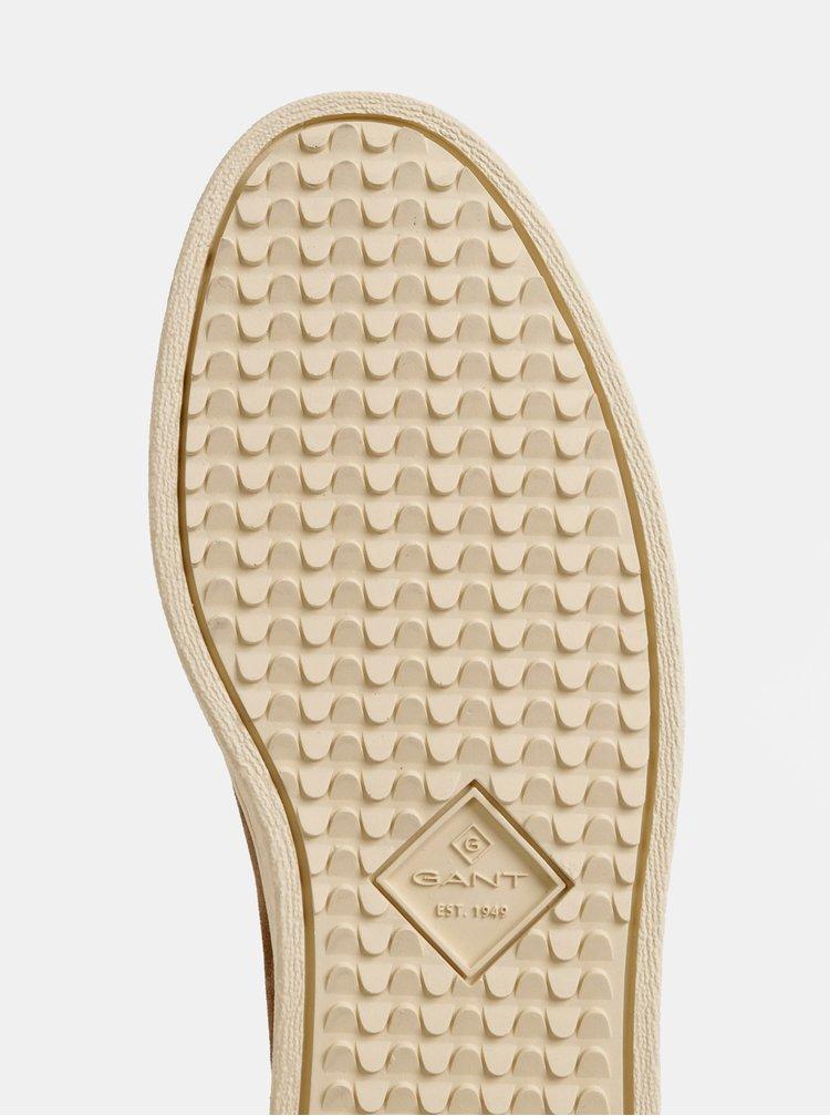 Svetlohnedé pánske semišové zimné chelsea topánky s vlnenou podšívkou GANT Creek