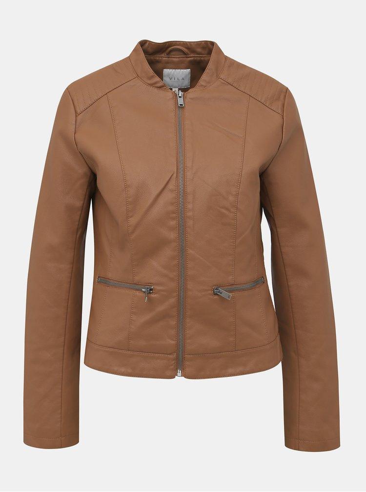 Hnedá koženková bunda VILA Popular