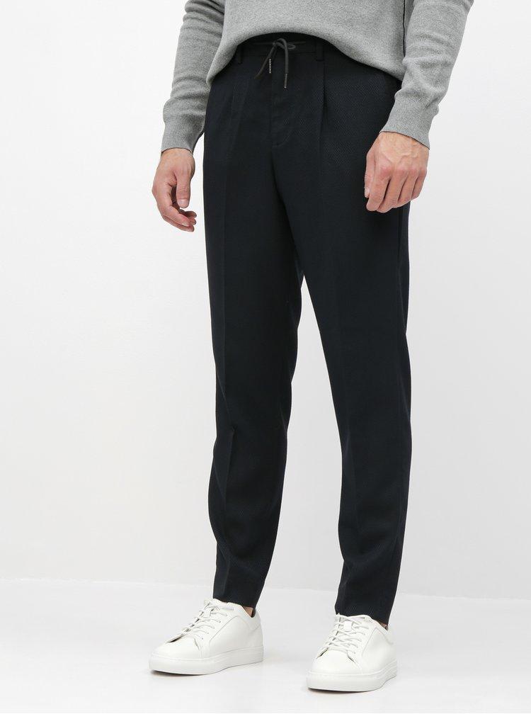 Modro-černé slim fit kalhoty Selected Homme Leo