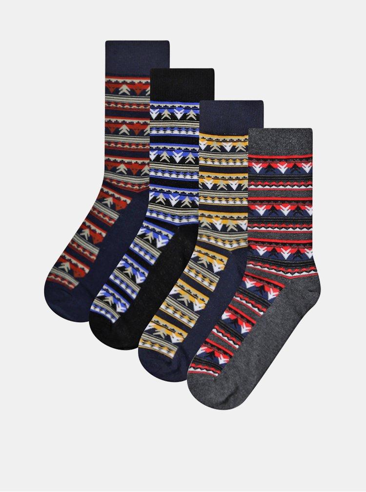 Sada štyroch párov vzorovaných ponožiek v modrej a šedej farbe Jack & Jones Gift