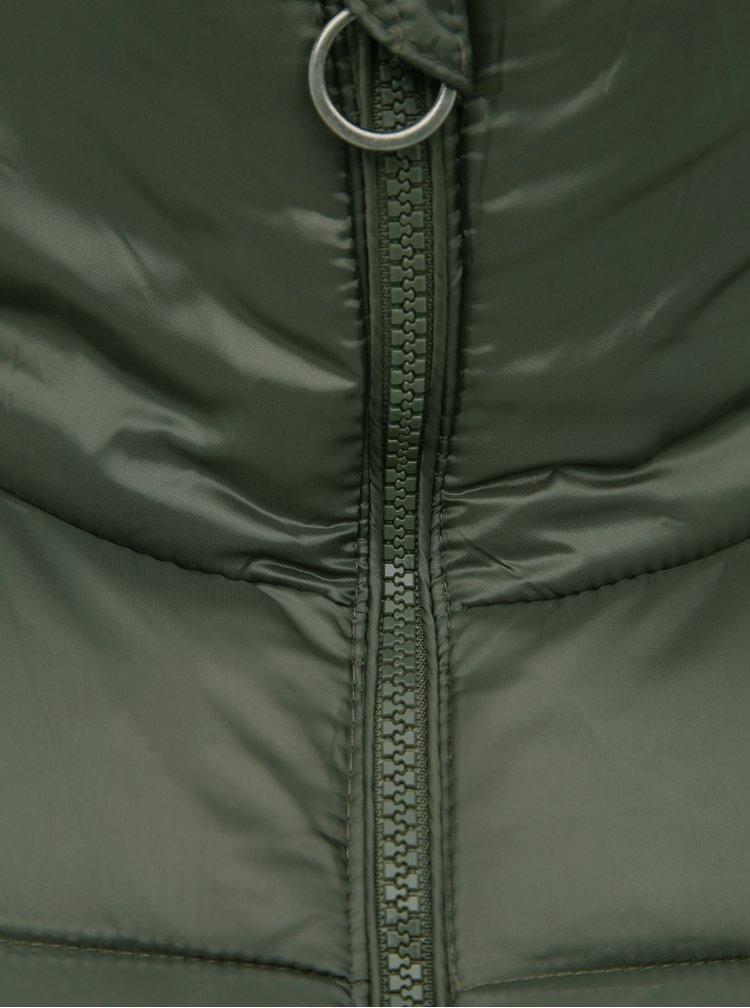 Tmavozelený prešívaný zimný kabát VERO MODA Starlet