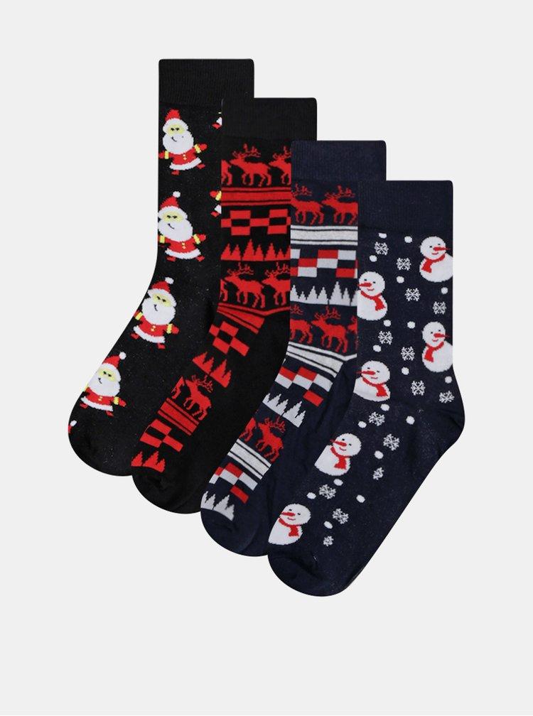 Sada čtyř párů modrých a černých ponožek s vánočním motivem Jack & Jones Christmas