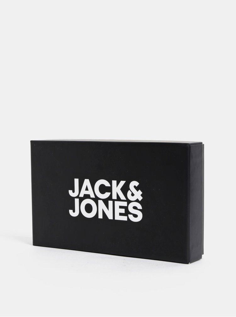 Černý kožený pásek se dvěma sponami Jack & Jones Jerry