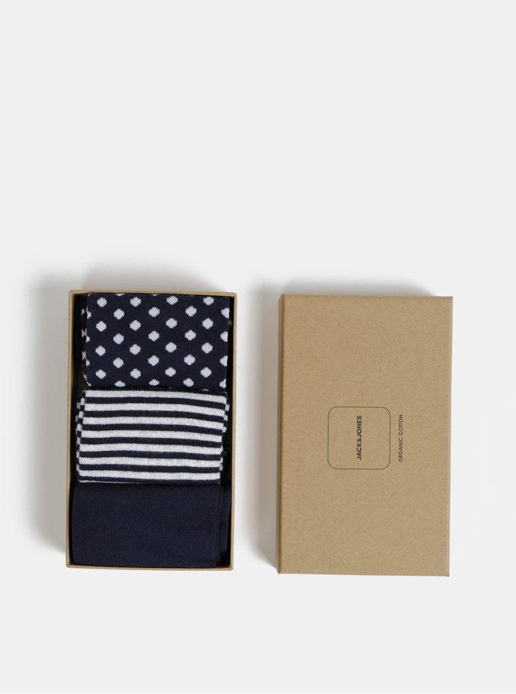 Sada troch párov tmavomodrých vzorovaných ponožiek Jack & Jones Organic