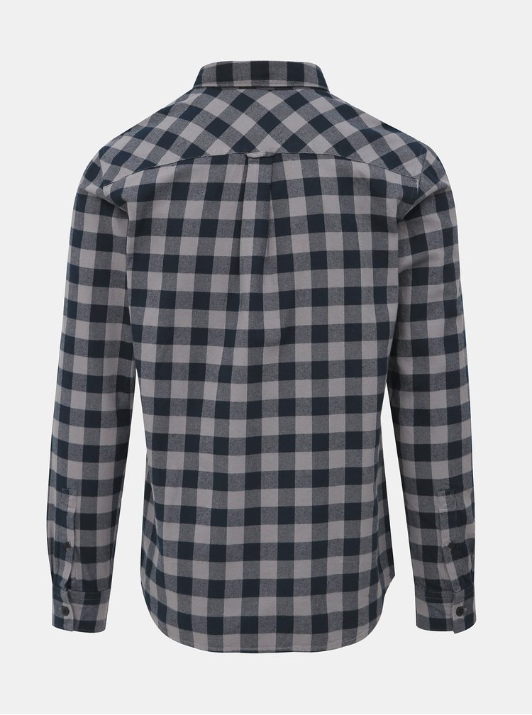 Šedo-modrá kockovaná slim fit košeľa Jack & Jones Calgary