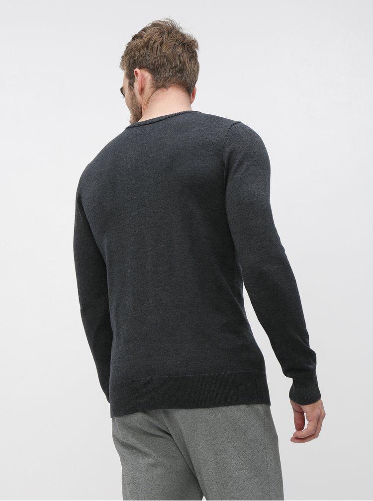 Tmavě šedý pánský basic svetr ZOOT