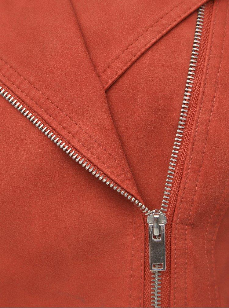 Cihlový koženkový křivák VERO MODA World