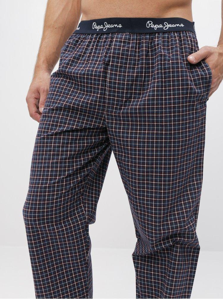 Tmavomodré pánske kockované pyžamové nohavice Pepe Jeans Lawley