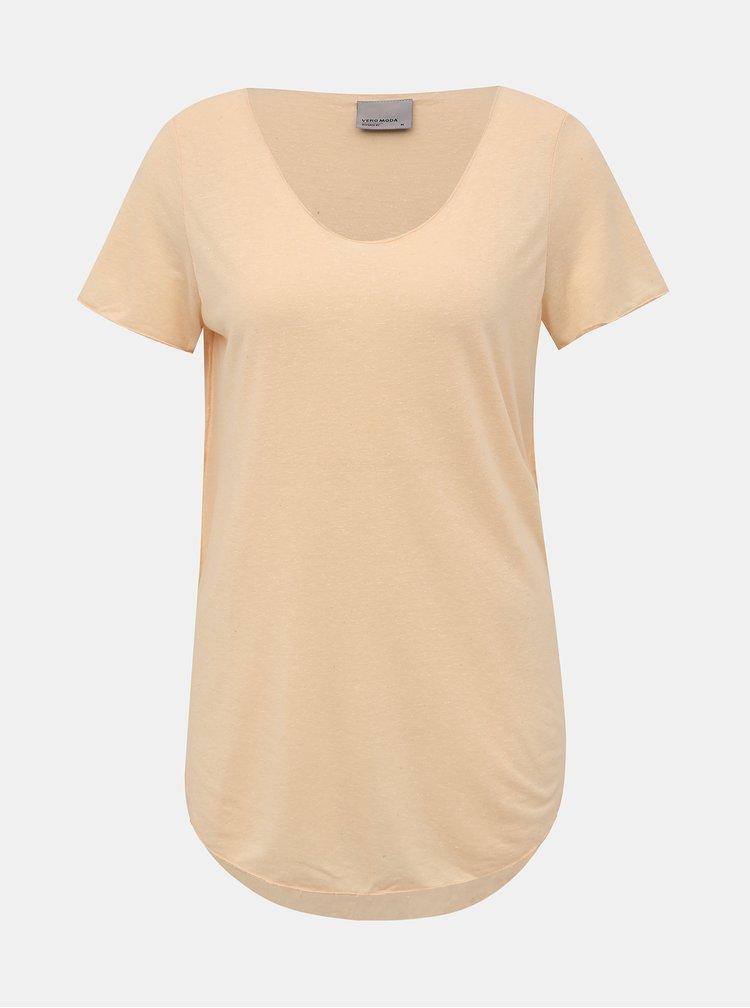 Meruňkové basic tričko s příměsí lnu VERO MODA Lua