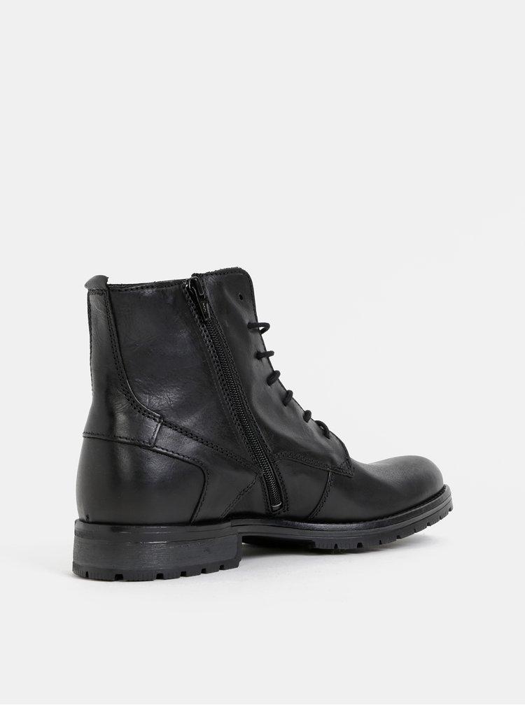 Čierne pánske kožené členkové topánky Jack & Jones Worca