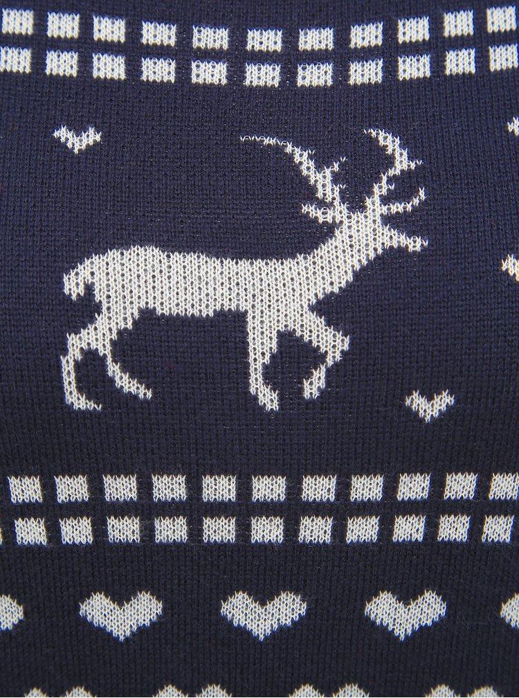 Tmavě modré svetrové šaty s vánočním motivem ONLY Heartmas