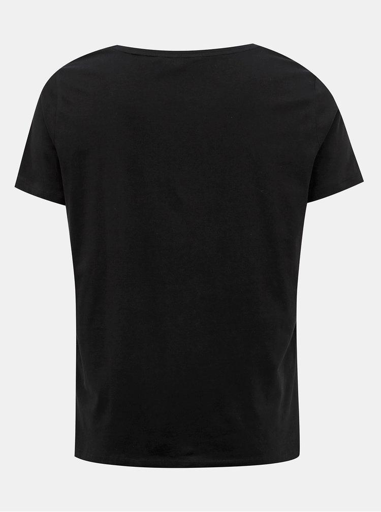 Černé tričko s potiskem ONLY CARMAKOMA Glam