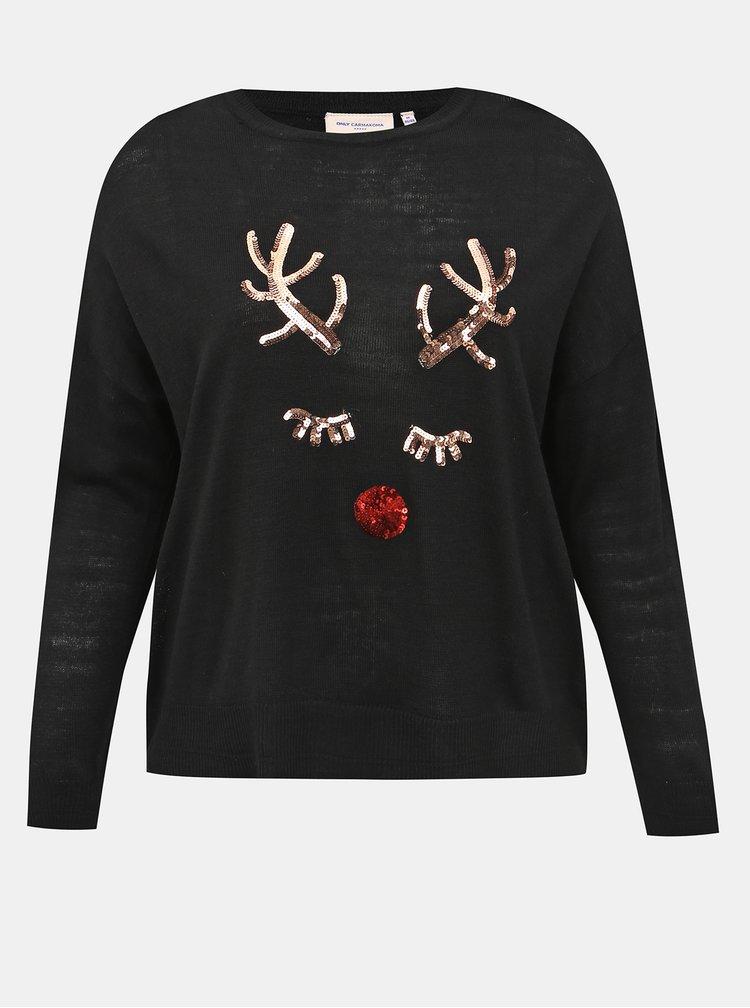 Černý svetr s vánočním motivem ONLY CARMAKOMA Glam