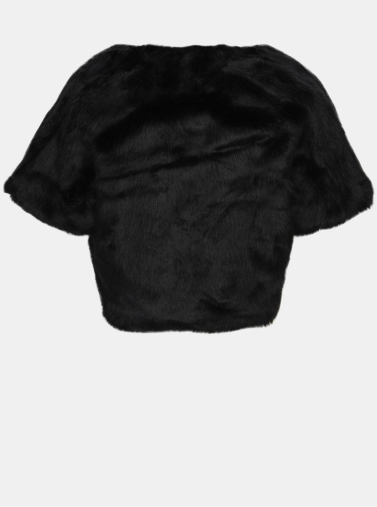 Černé bolerko s umělým kožíškem Jacqueline de Yong Nellie