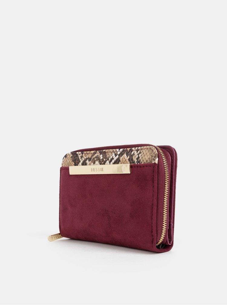 Vínová peněženka v semišové úpravě Bessie London