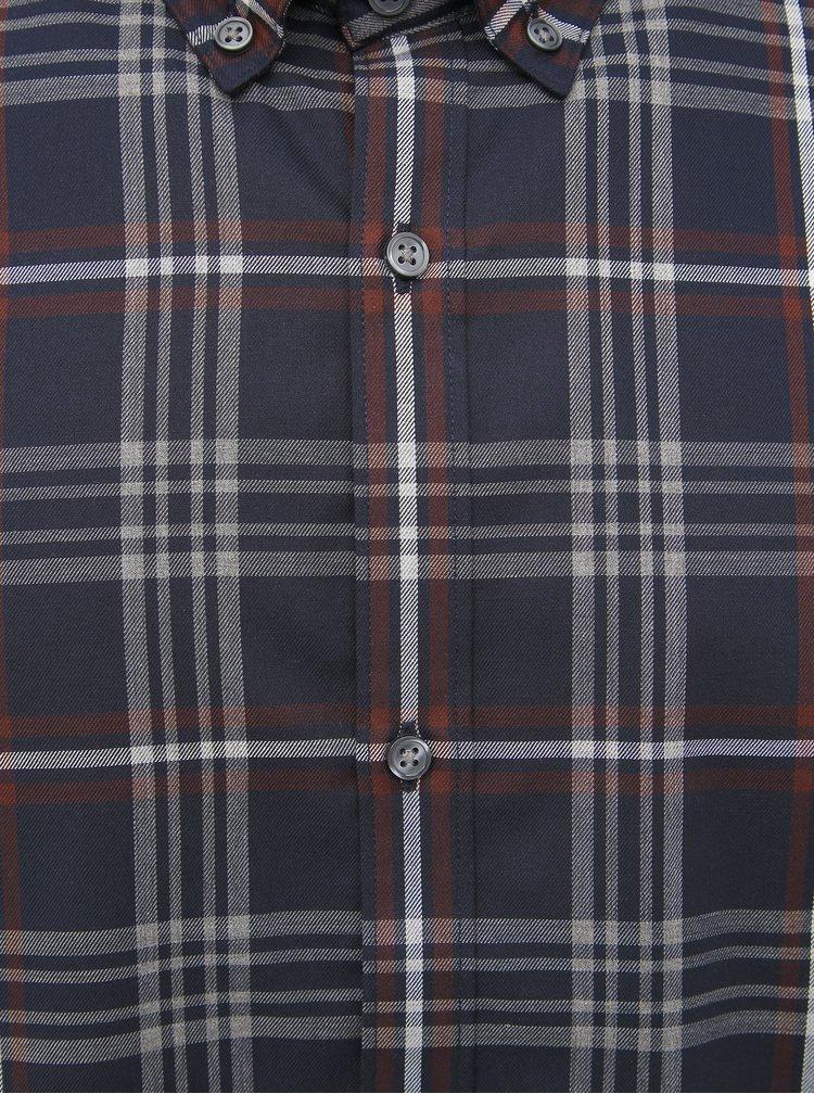 Tmavě modrá kostkovaná slim fit košile Jack & Jones Focus