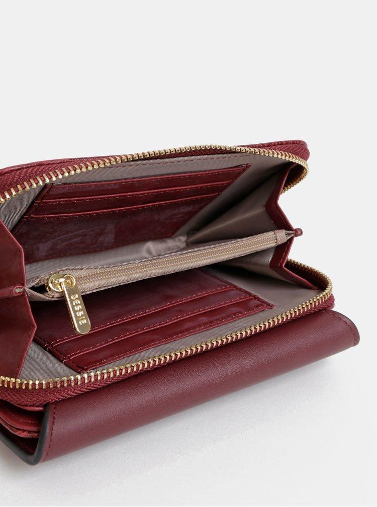 Vínová peněženka s krokodýlím vzorem Bessie London