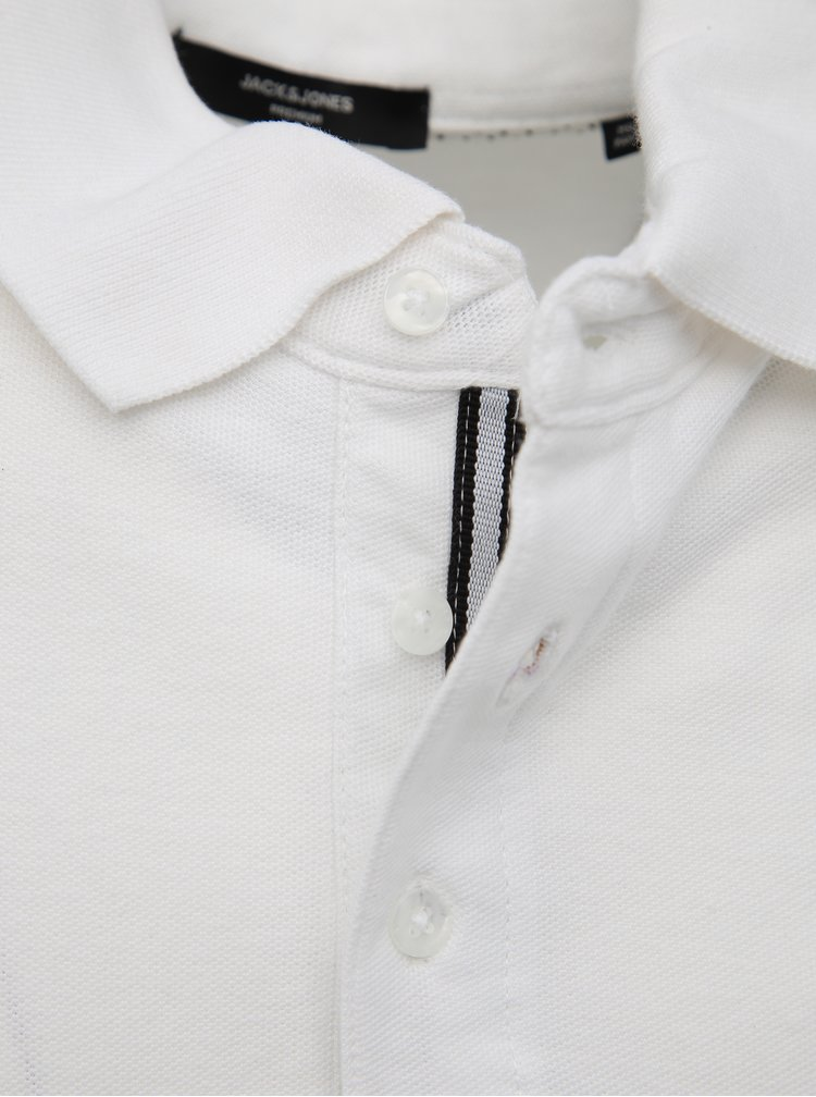 Bílé slim fit polo tričko Jack & Jones Angus