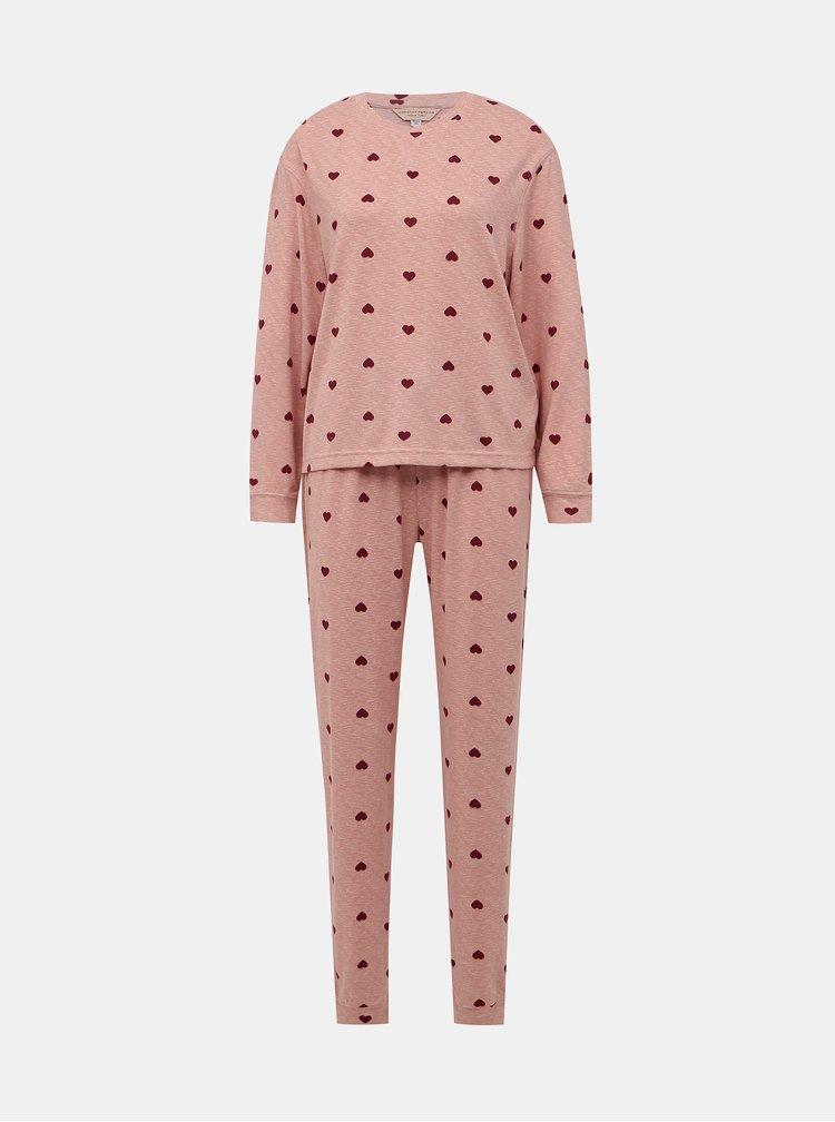 Růžové vzorované dvoudílné pyžamo Dorothy Perkins
