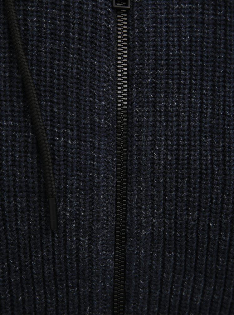 Tmavě modrý svetr na zip Jack & Jones Pedro