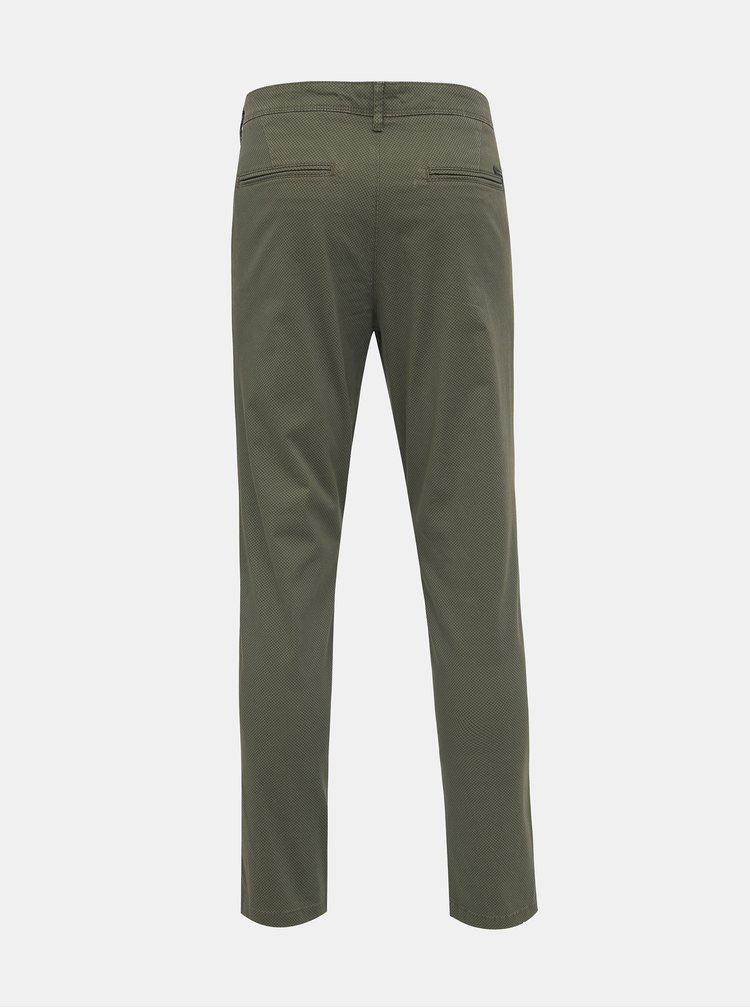 Zelené vzorované slim fit kalhoty Jack & Jones Marco