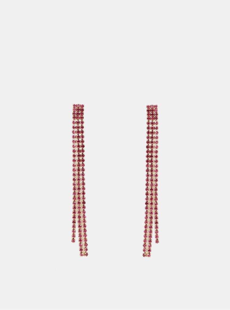 Růžové naušnice s kamínky ONLY Drude