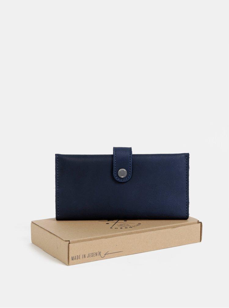 Tmavě modrá kožená peněženka WOOX Moneta magna veneta