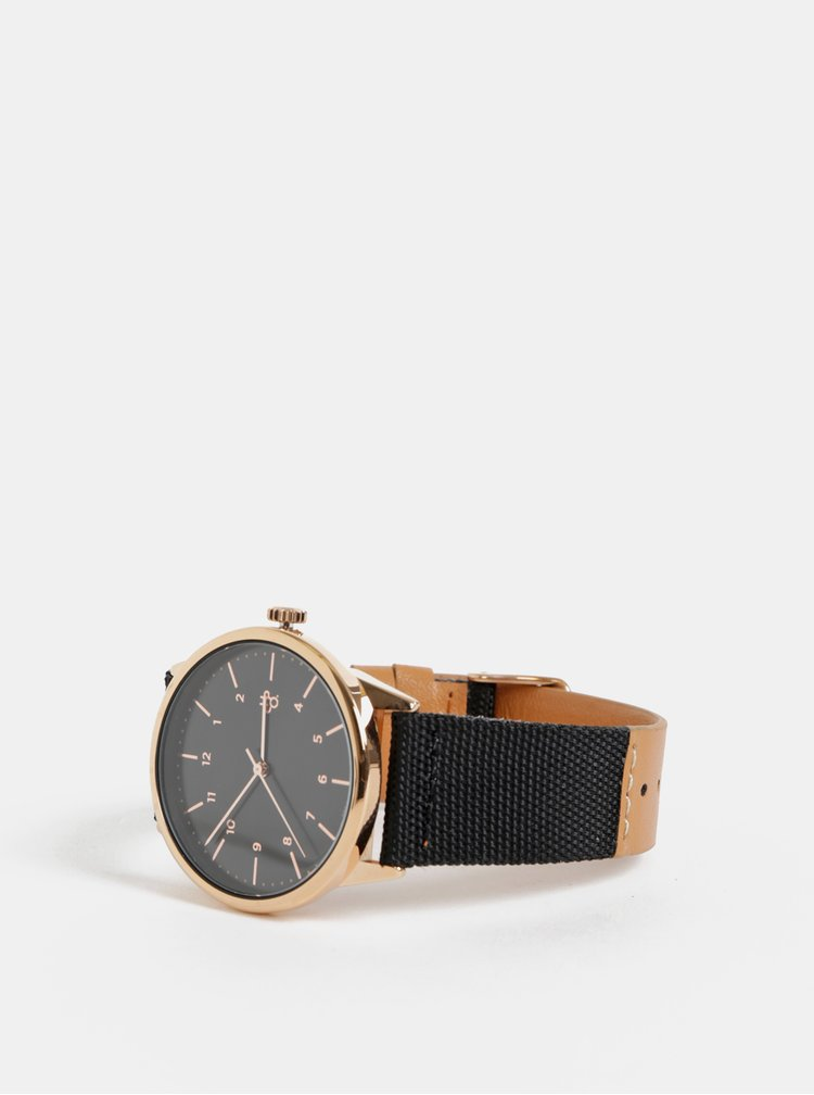 Dámské hodinky s černým textilním páskem s detaily z veganské kůže CHPO Rawiya