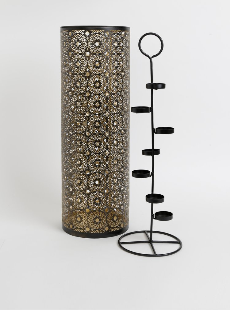 Svícen ve zlato-černé barvě Dakls 65 cm