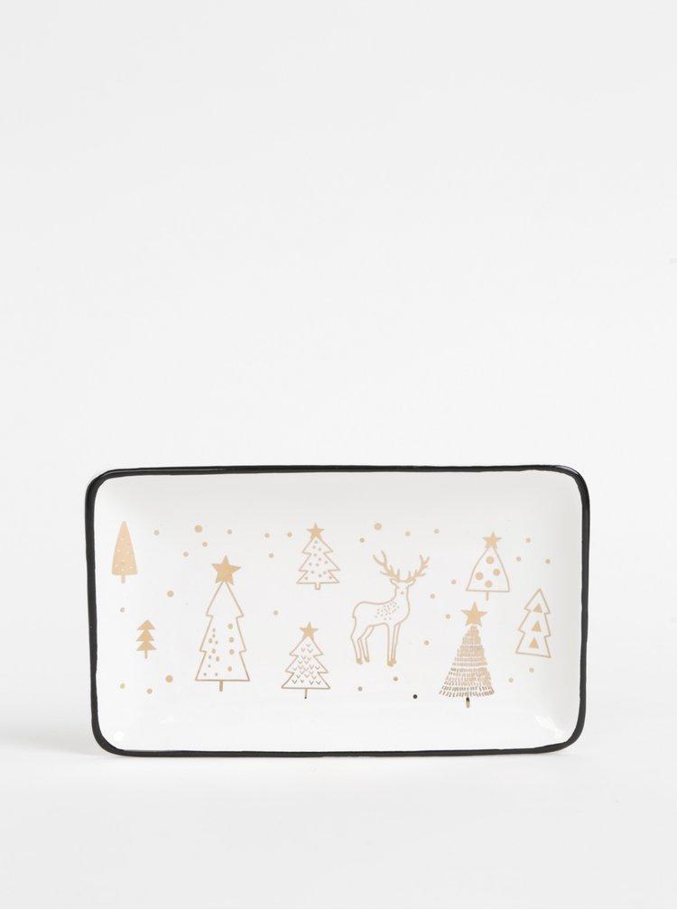 Bílý keramický tác s vánočním motivem Dakls