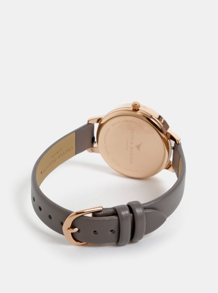 Dámské hodinky s šedým páskem z veganské kůže Olivia Burton